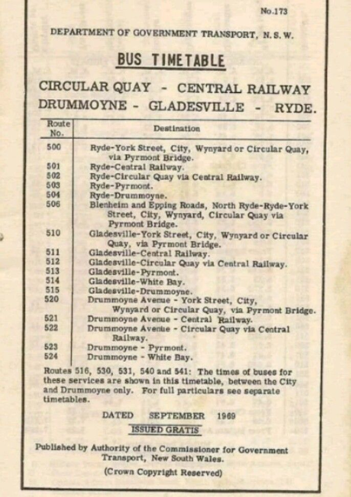 My old bus time table for the journey down Victoria Road.