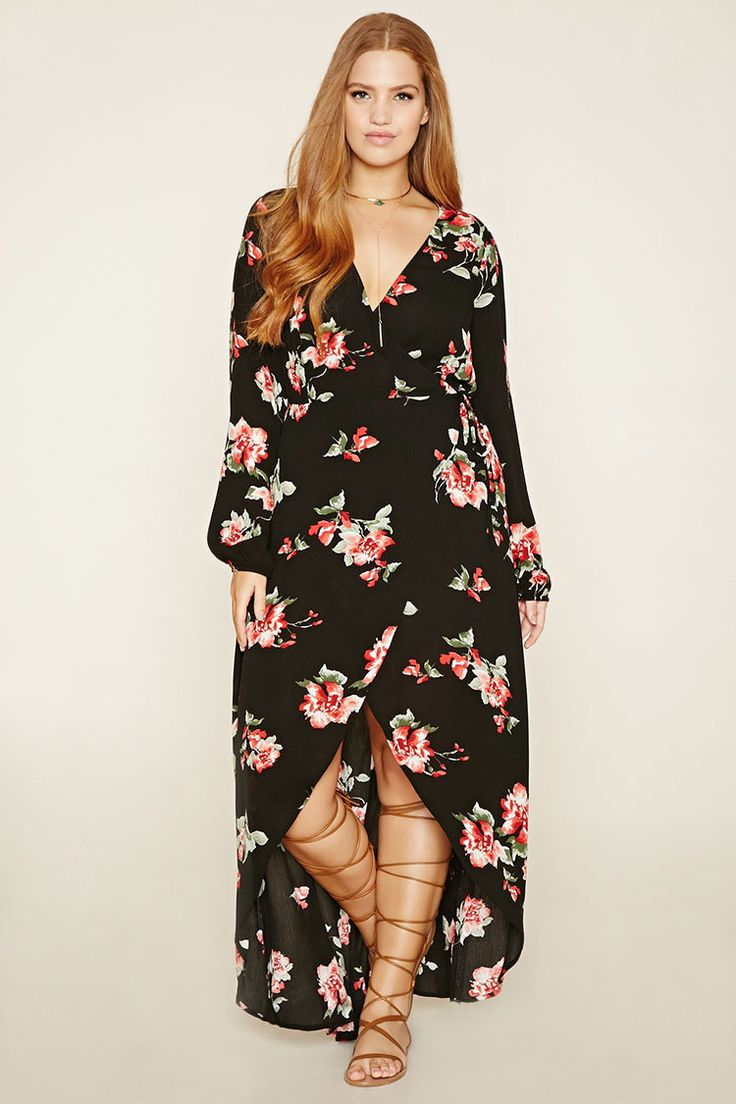 Plus Size Floral Wrap Dress Forever 21 Plus 2000152905