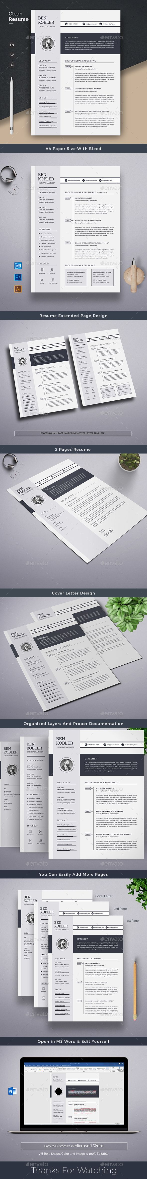 Clean Resume Word Template. Features of Resume Template