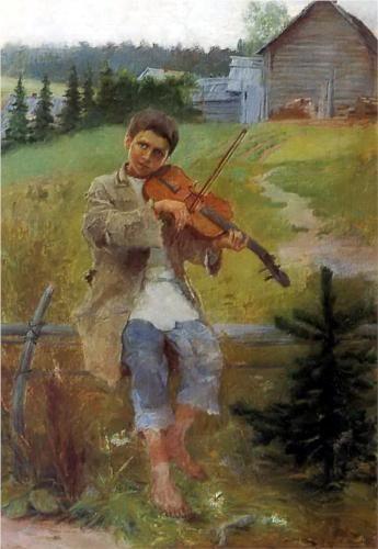 Nikolay Bogdanov-Belsky (Russian: 1868 -1945) - Boy with Violin - 1897