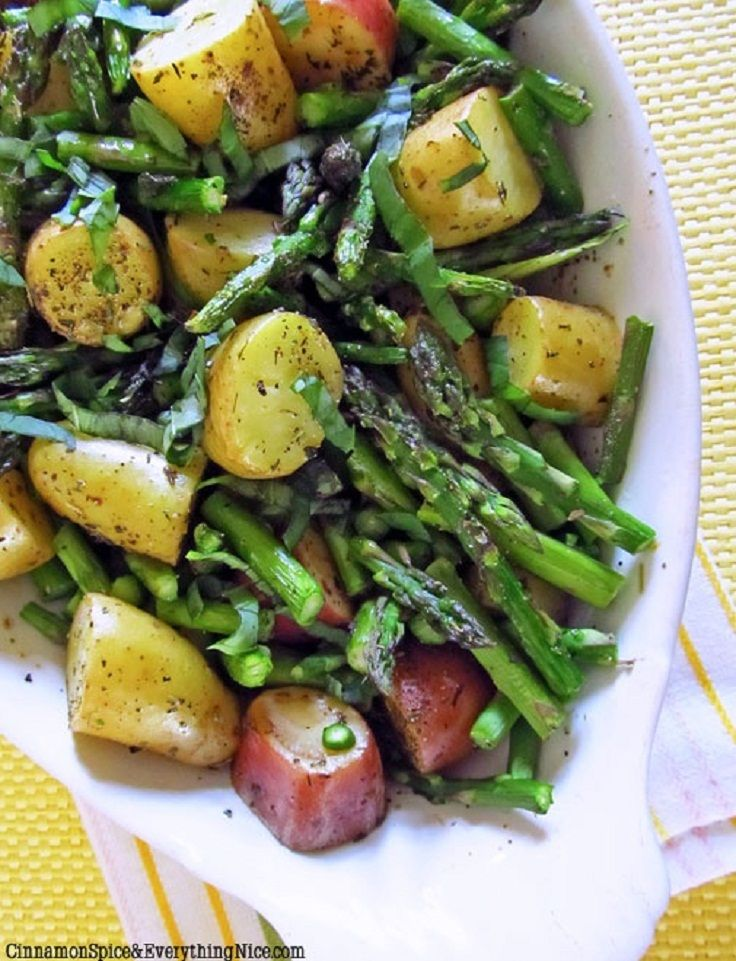 Roasted New Potatoes and Asparagus~ just made this and it's fantastic. Added a bit of parm for the last 10 min. The secret is cutting the asparagus long and the potato small.