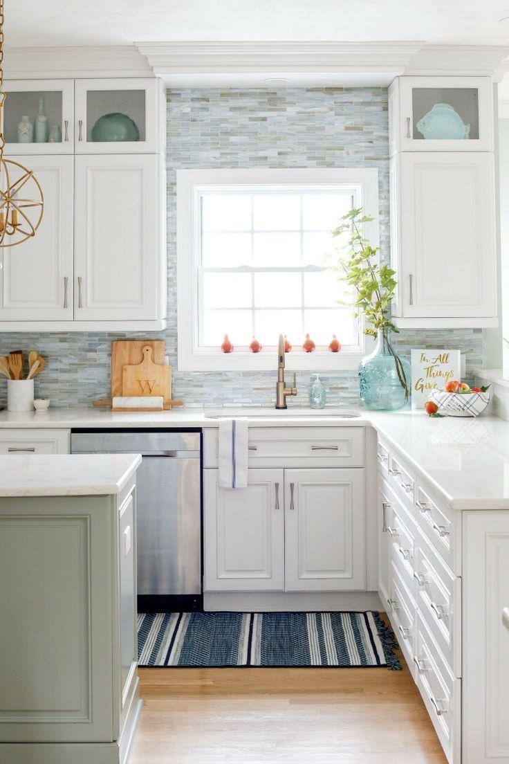 Navy And Neutral Fall Living Room Kitchen Tour Sand And Sisal Coastal Kitchen Design White Kitchen Design Kitchen Cabinets Decor Coastal kitchen backsplash ideas
