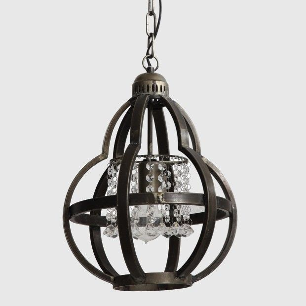 $82  Adorable Small Metal Chandelier With Crystals