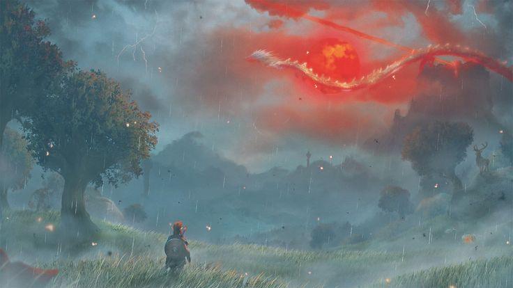 Computerspiele The Legend of Zelda: Breath of the Wild  Link Fantasy Painting Wallpaper – Sam Bosley
