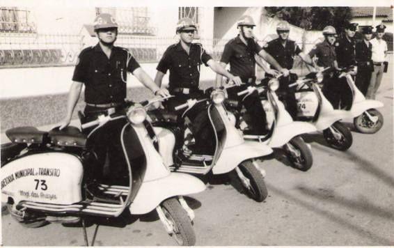 Pelotão Motorizado de Mogi das Cruzes, da extinta Guarda Civil do Estado de São Paulo, década de 60.