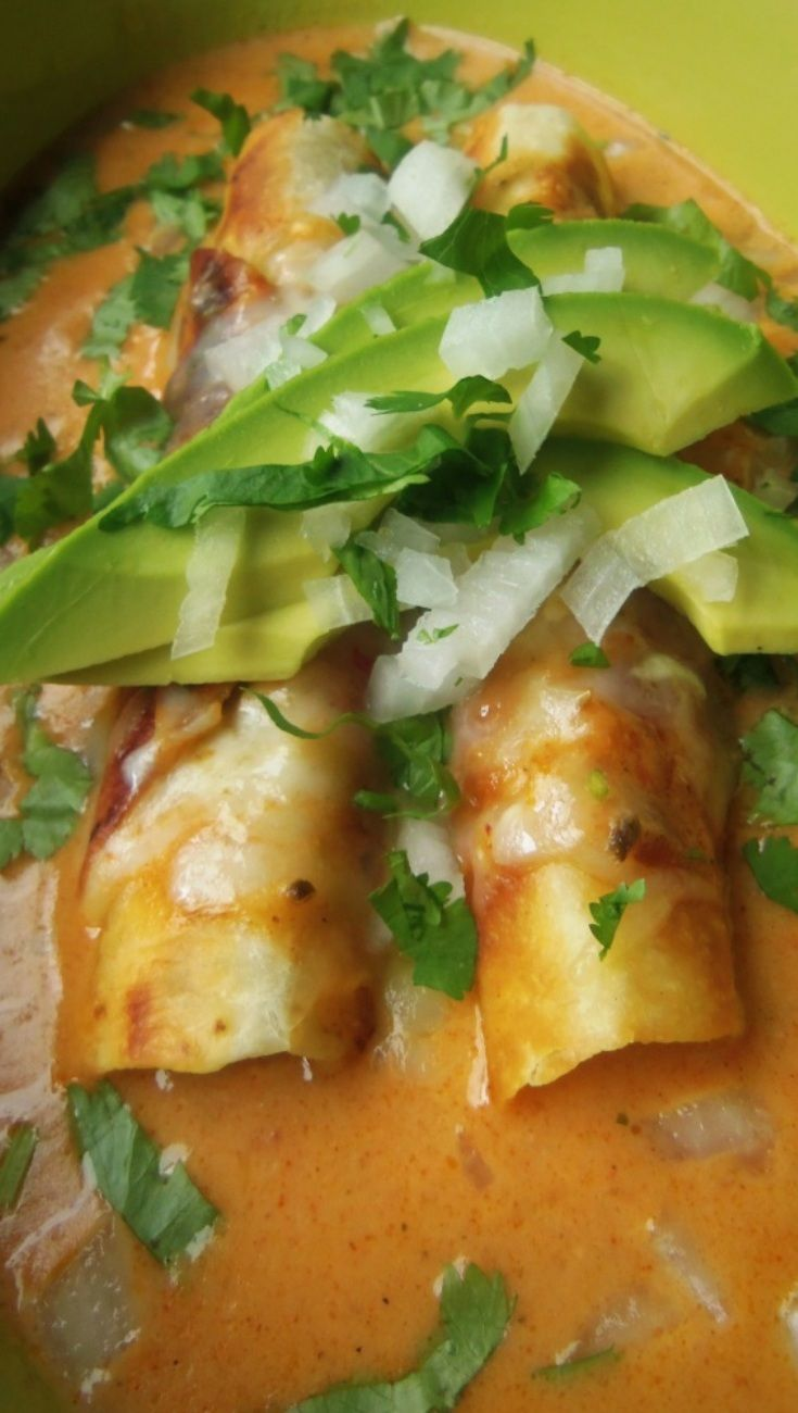 Potato and Cheese Flautas with a Cheese Enchilada Sauce