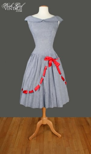 1950's Blue & White Check Red Bow DressCheck Red, 1950S Style, 1950S Dresses, Vintage Fashion, Vintage Dresses, Bows Dresses, 1950 S Blue, Red Bows, Vintage Clothing