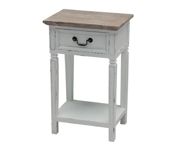 Sängbord vit med naturtop 44x31x70 cm (rek.pris 1200 kr) / Vita möbler naturtop / Shabby Chic