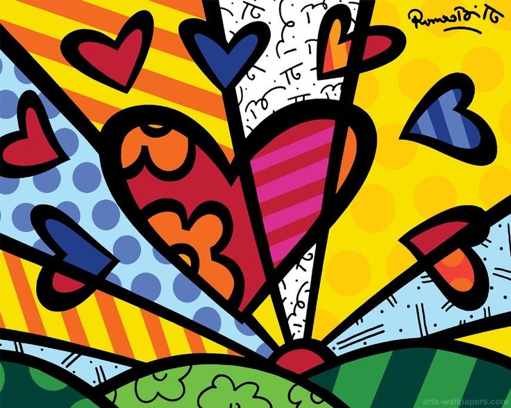 Heart flowers di Romero Britto