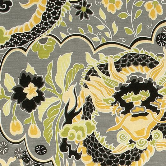 Imperial Dragon Fabric A Far East inspired printed fabric with a grand Chinoiserie dragon design, shown in charcoal and yellow.