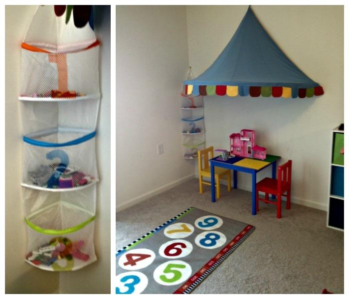 playroom makeover lego corner ikea rug canopy