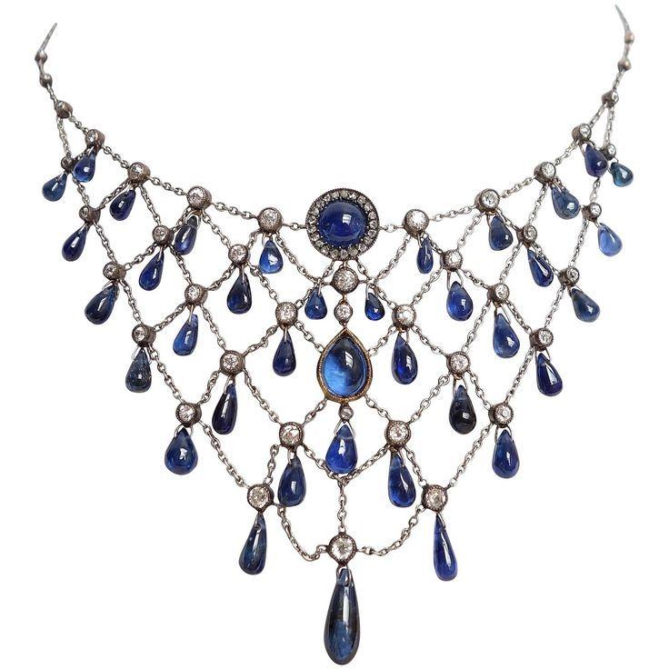 Gorgeous Edwardian Sapphire and Diamond Necklace