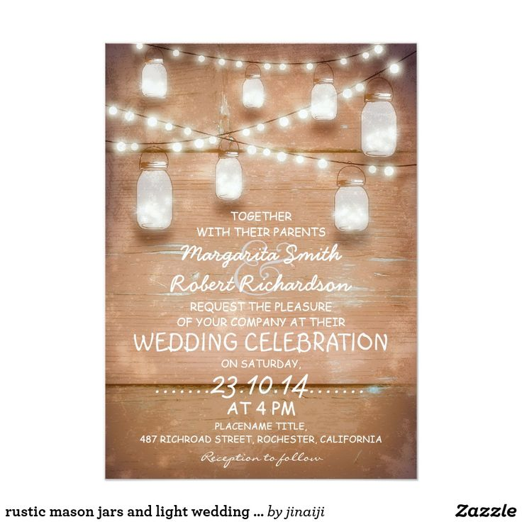 zazzle wedding invitations promo code%0A rustic mason jars and light wedding invitations