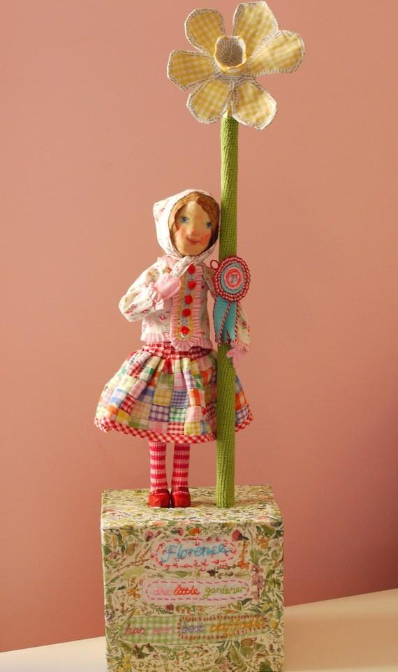 Florence the Little Gardener {paper mache}