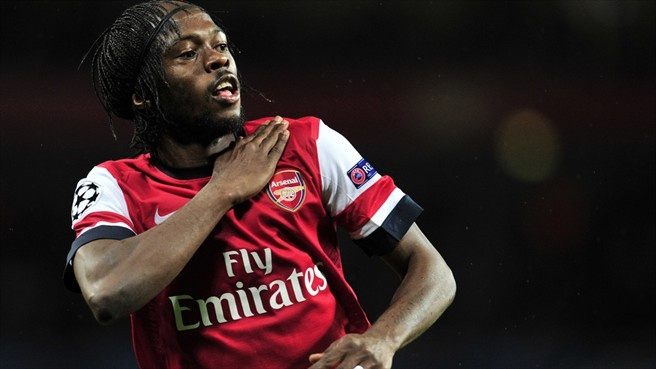 Gervinho celebrates after scoring a goal for Arsenal in the Champions League