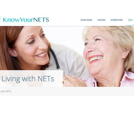 "Know Your NETs - Lær om nevroendokrin kreft. KnowYourNETS - Informasjonsside for pasienter og pårørende om NET-kreft (engelsk).  - ""KnowYourNETS is all about empowering people with NETs and their loved ones with information and resources to encourage them to expect more from their doctors, expect more from their treatment and expect more from themselves. http://www.knowyournets.com"