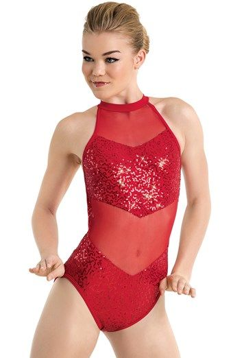 15443b17aa Balera Sequin And Mesh Halter Leotard S