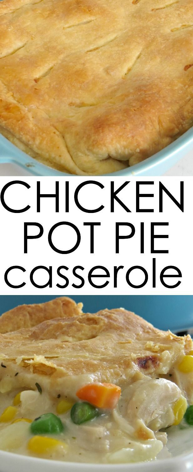 Here's an easy chicken dinner idea! This Chicken Pot Pie Casserole is perfect for busy weeknights. Casserole Recipes Chicken Recipes