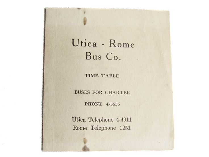 Utica Rome Bus Company Time Table 1940s Charter Bus Schedule Utica NY Rome New York Tour Bus Marsh Charter Service Vintage Bus Paper by CollectionSelection on Etsy, SOLD