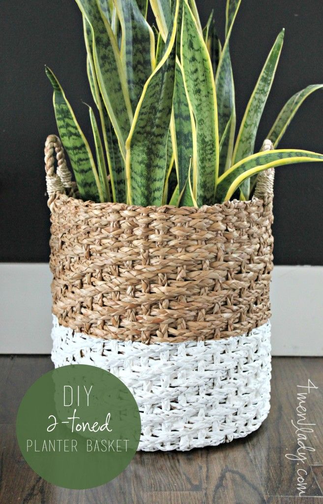Modernize a boring basket by painting half.  See tutorial for tips and tricks. 4men1lady.com