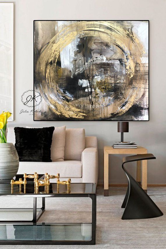Large Wall Art Gold Leaf Art Abstract Painting Contemporary Etsy Wall Art Gold Leaf Gold Leaf Art Abstract Art Painting