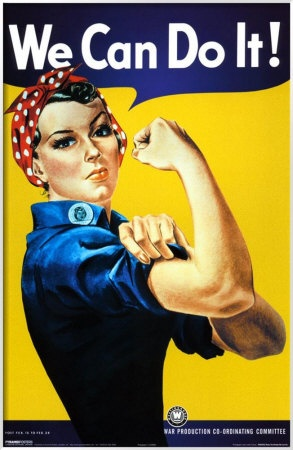 """WW2's iconic """"Rosie the Riveter."""" With so many men drafted into the armed services, US factories--particularly those producing munitions and war equipment and supplies, were desperate for workers, and women entered the work force in """"non-feminine jobs"""" in droves for the first time in history."""