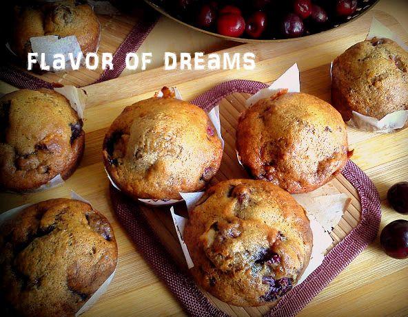 banana (vegan) muffins with cherry