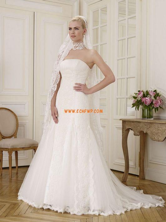 Tule Elegante & Luxuoso Sem Mangas Vestidos de Noiva 2014
