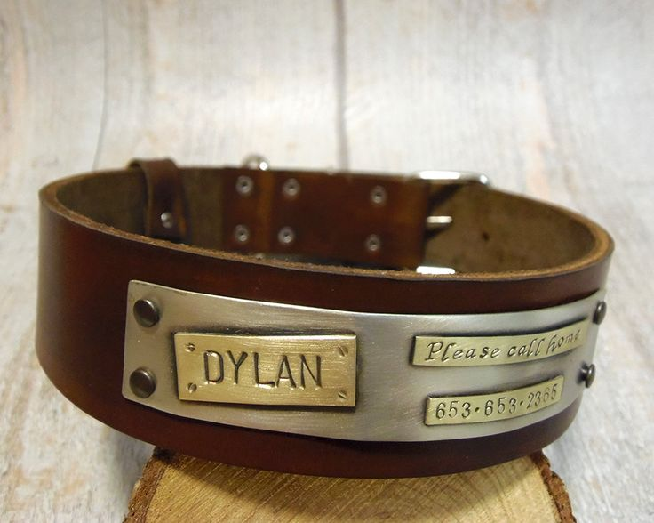 large dog collar, Dog Collar, dog collar leather, dog collar personalized, leather dog collar, with name plate, Collar in Brown,engraved, by VakalisCreations on Etsy