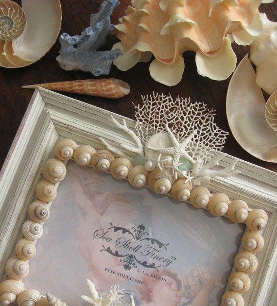 TRUE LOVE Fine Shell Art 5 X 7 Mirror AND Photo Frame SHABBY, ROMANTIC, COASTAL, SEA SHELL FINERY