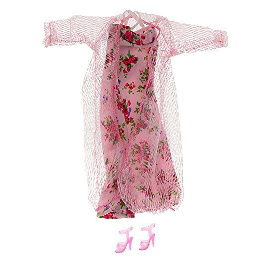 Pigiami Floreali Pizzo Rosa Fissati Per Bambole Barbie