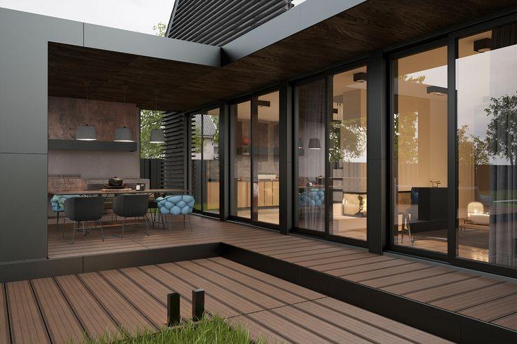 Панорамные окна - самое лучшие решение для современного дома. Благодаря ему, интерьер - всегда разный. Ведь помимо внутреннего наполнения, в дизайне дома участвует и окружающая природа.  Проект архитектуры - дизайн студия Zooi Киев