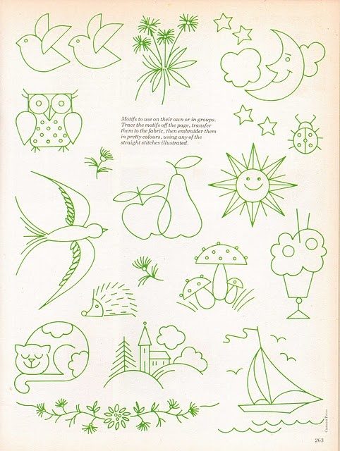 simple - embroidery designs. would be easy to make pillow cases and sheets using these designs