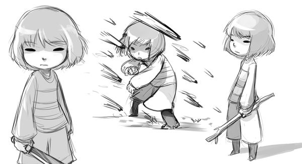 Frisk The Undertale Kid Sketches Of Fight With Stick And
