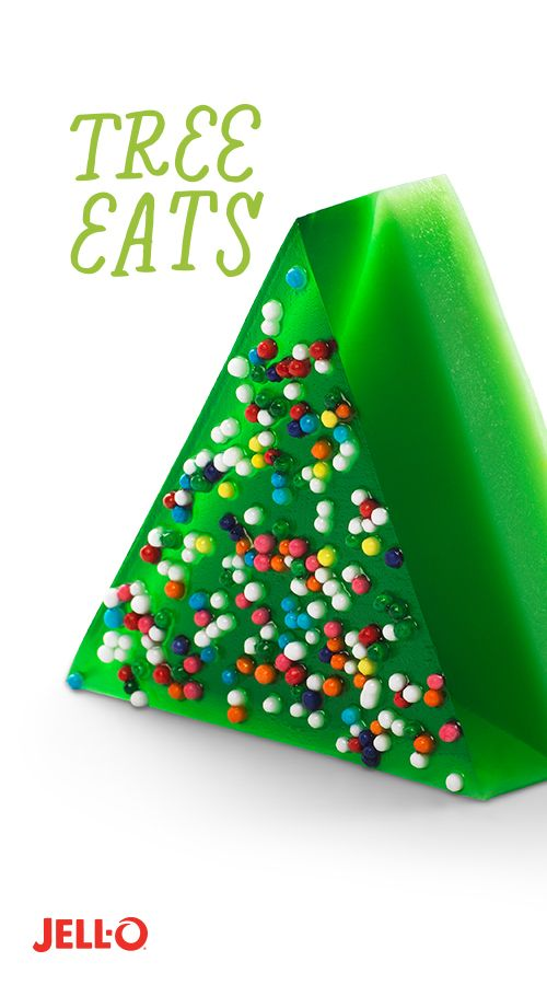 Getting in the Christmas spirit is as easy as trimmingthe tree. Especially when it's JELL-O Tree Eats. All it takes is Lime Flavor JELL-O Gelatin, evaporated milk and sprinkles. And don't forget: all trees need water.
