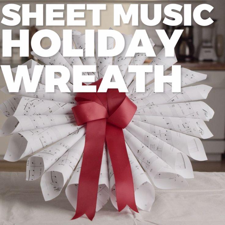 DIY Sheet Music Holiday Wreath