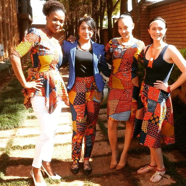 Heritage Day - MaryO pieces made from the fabric from Ghana in different styles.