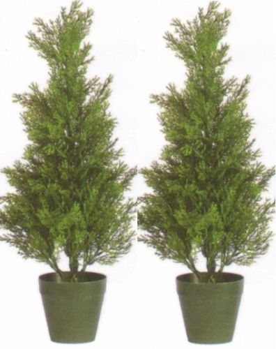 Two-2-foot-Outdoor-Artificial-Cedar-Topiary-Trees-Potted-UV-Rated-Cypress-Plants
