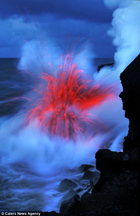 Colourful: Several different striking hues are on display in one of nature's greatest phenomenons - including grey, blue and red