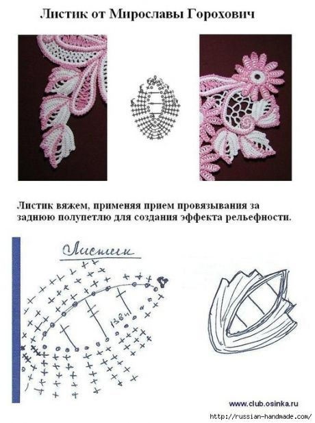 Схемы вязания листиков крючком.