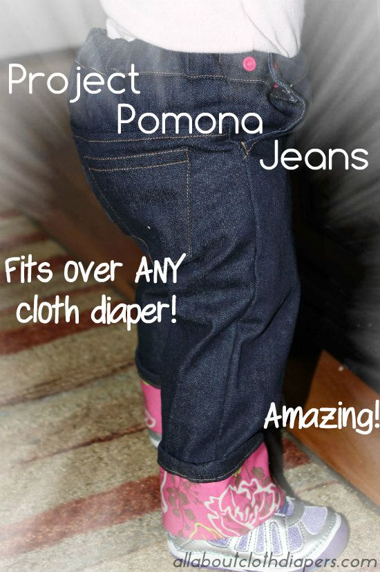 Project Pomona- FINALLY! Jeans made for cloth diapers. (Size 2 & 3 side-by-side comparison)