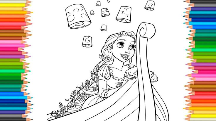Disney Princess Rapunzel Coloring Book Tangled Coloring Pages Video For ...