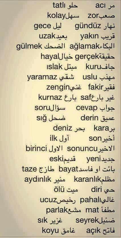 مصطلحات باللغة التركية
