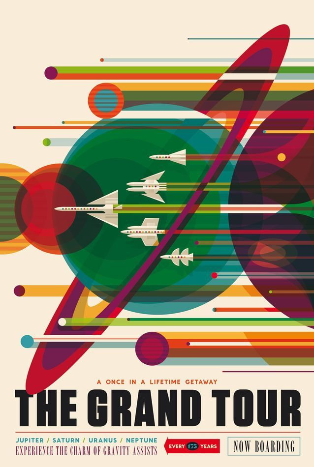 """""""The Grand Tour"""" refers to how the planets in the solar system align once every 175 years, permitting a spacecraft to jump from planet to planet using their gravity to propel them along a carefully selected itinerary."""