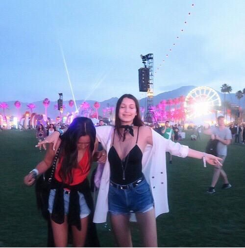 bella hadid and friend(aka the queen jesse jo) Coachella 2015