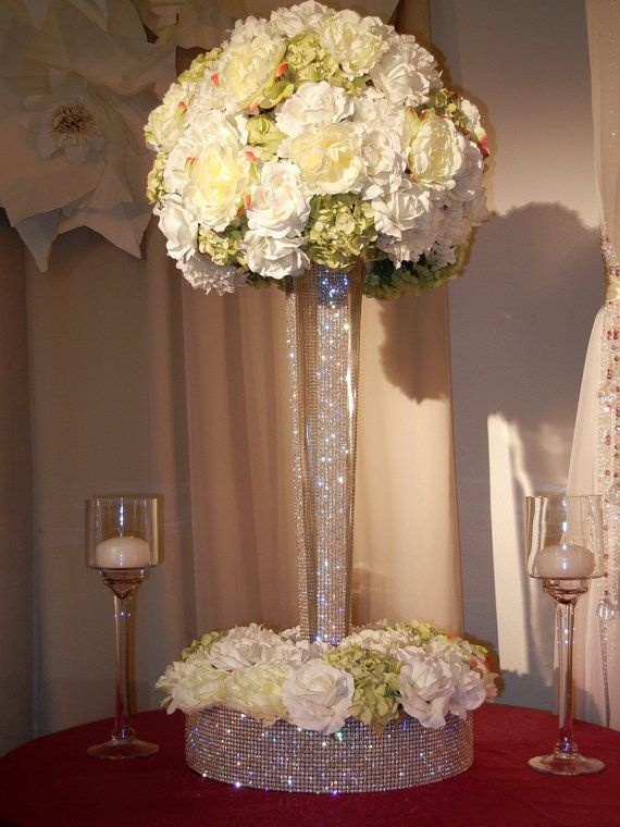 25 best ideas about bling wedding centerpieces on for Wedding dress vase centerpiece