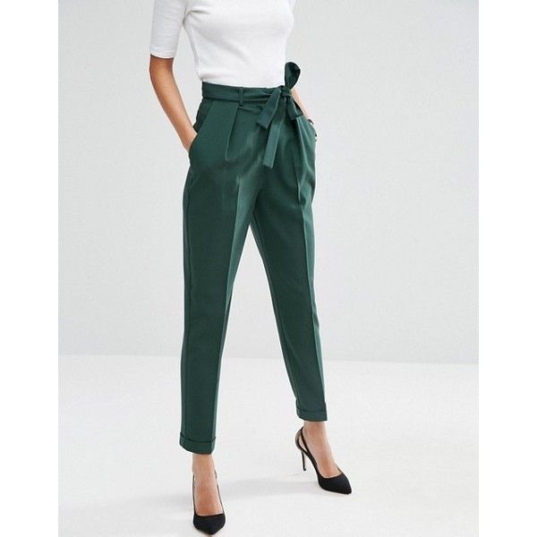 ASOS Woven Peg Pants with OBI Tie ($41) ❤ liked on Polyvore featuring pants, asos, tie belt, slim pants, peg-leg trousers and high waisted trousers