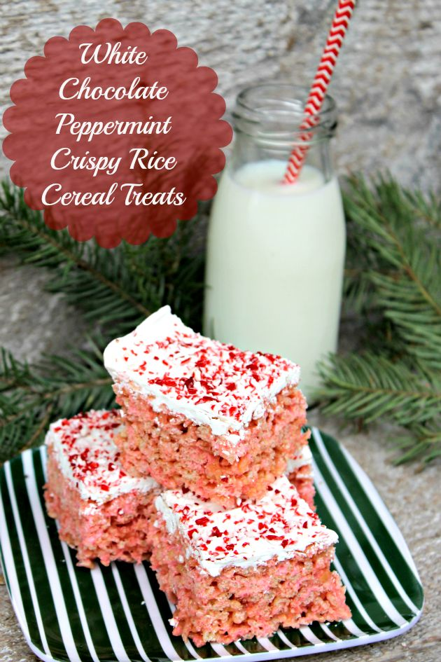 These White Chocolate Peppermint Crispy Rice Cereal Treats are the perfect holiday snack. Share them with everyone on your holiday gift list!