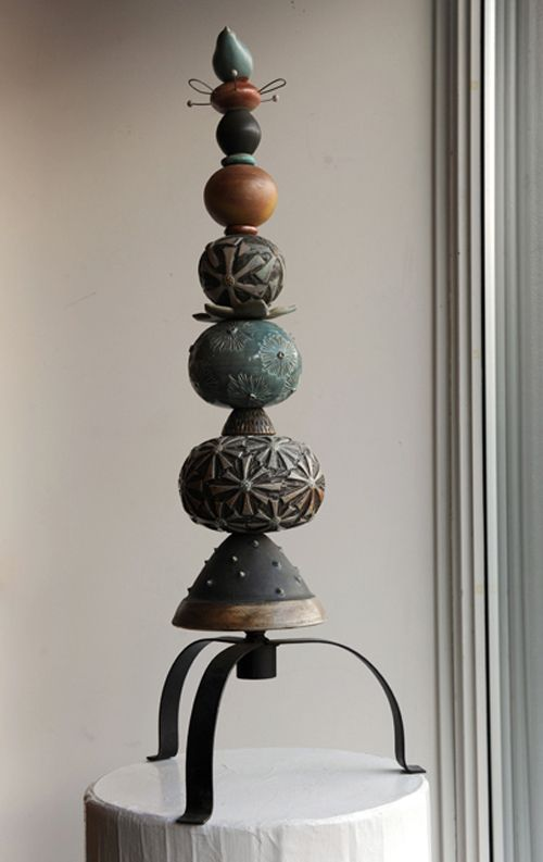 Hand-carved ceramic Totem with vintage lamp base & bird finial - $895