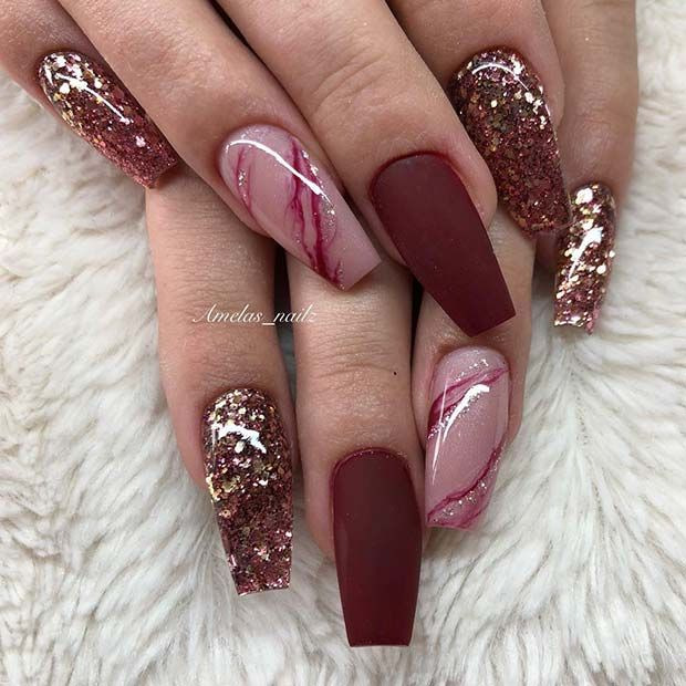 23 Matte Nail Art Ideas That Prove This Trend Is Here To Stay Fashion Blog Rose Gold Nails Coffin Nails Designs Burgundy Nails